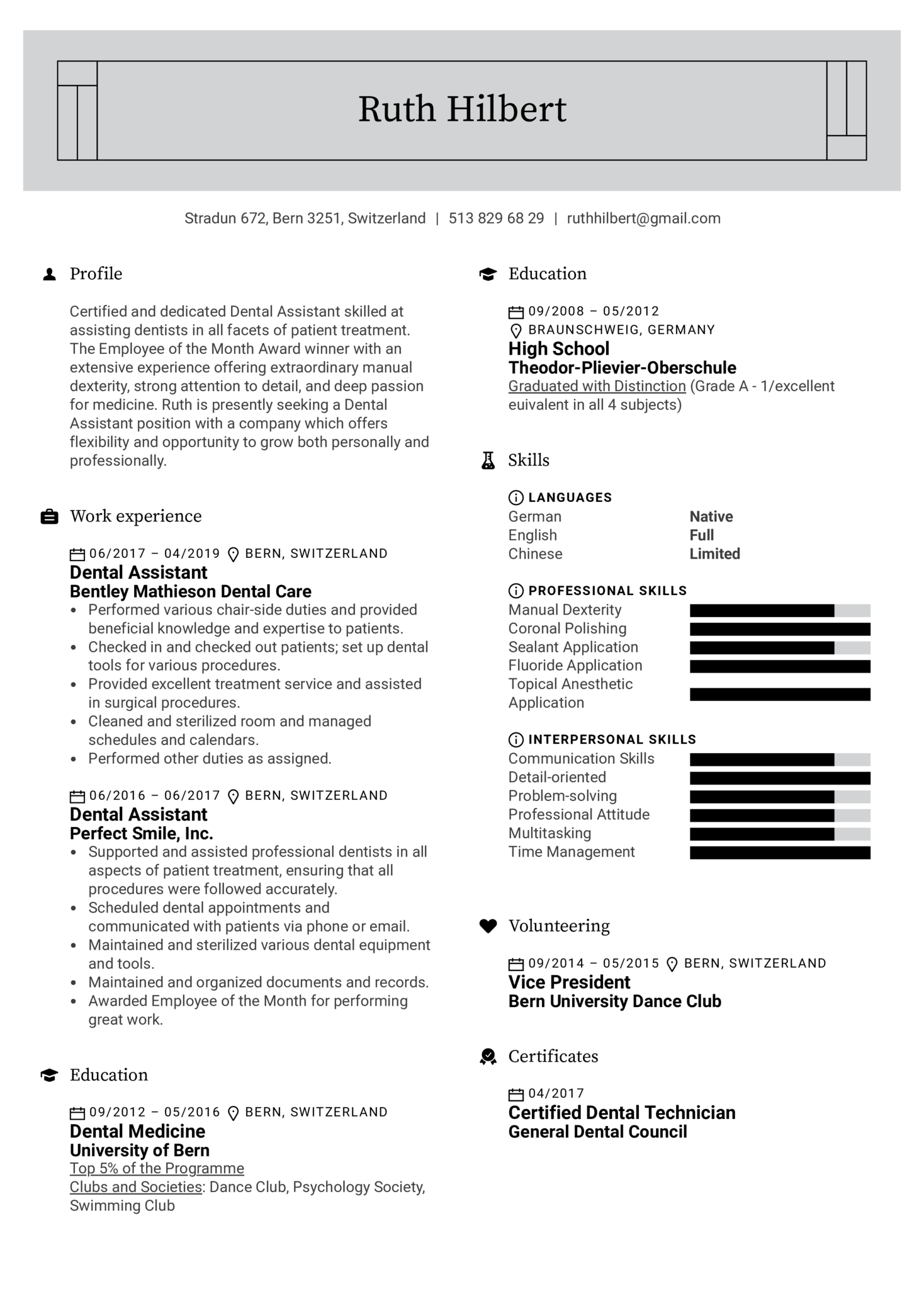 Dental Assistant Resume Example (Part 1)
