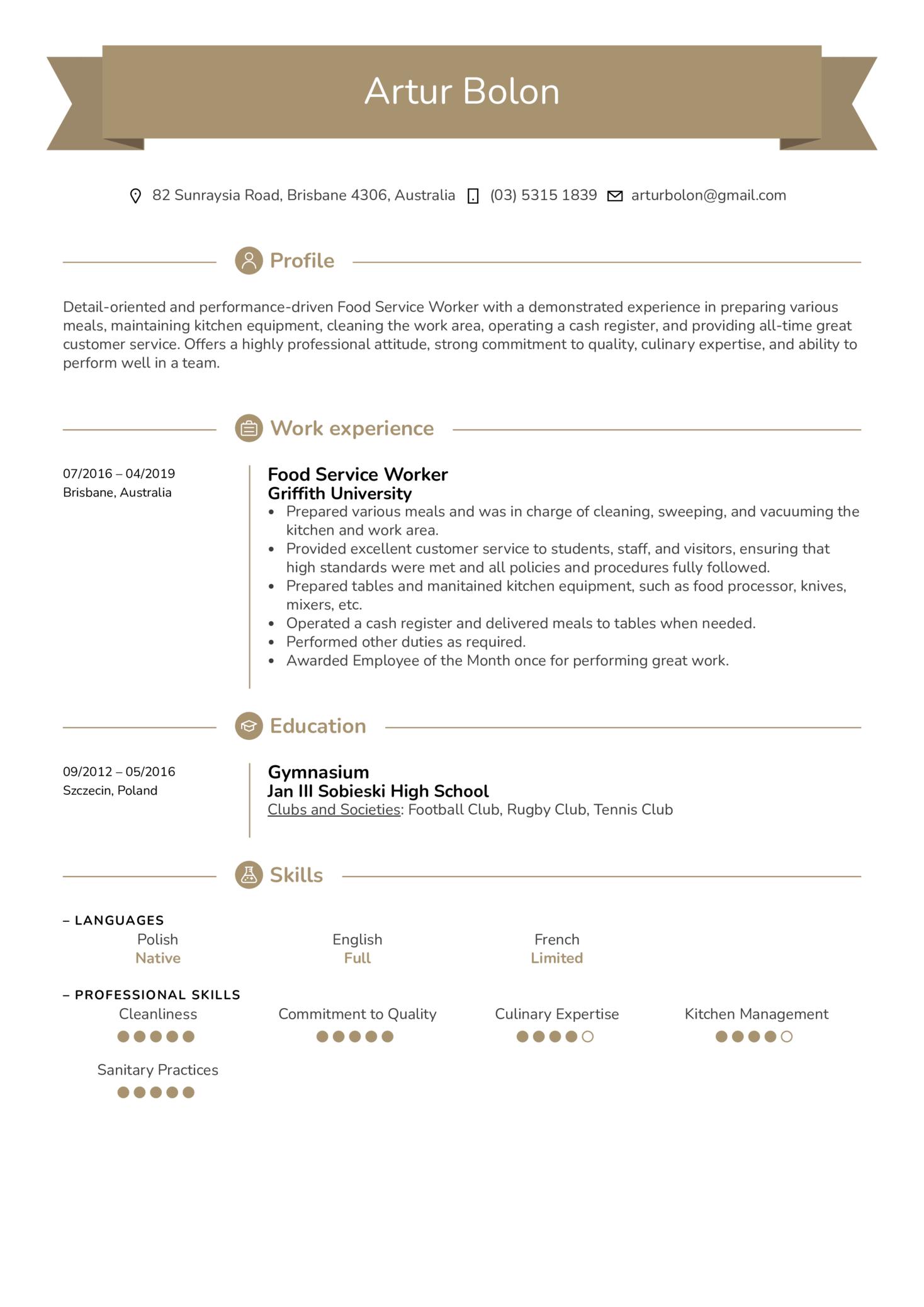 Food Service Worker Resume Sample (časť 1)