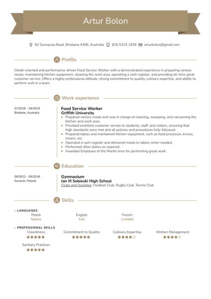 Food Service Worker Resume Sample