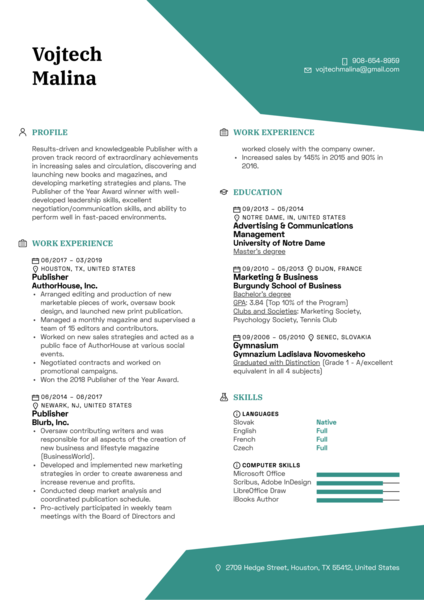 Publisher Resume Template