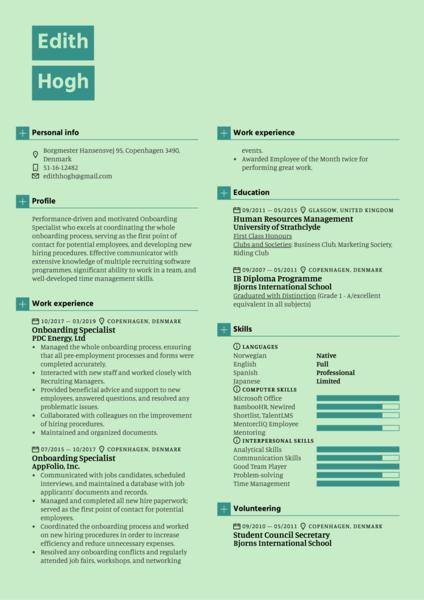 Onboarding Specialist Resume Sample