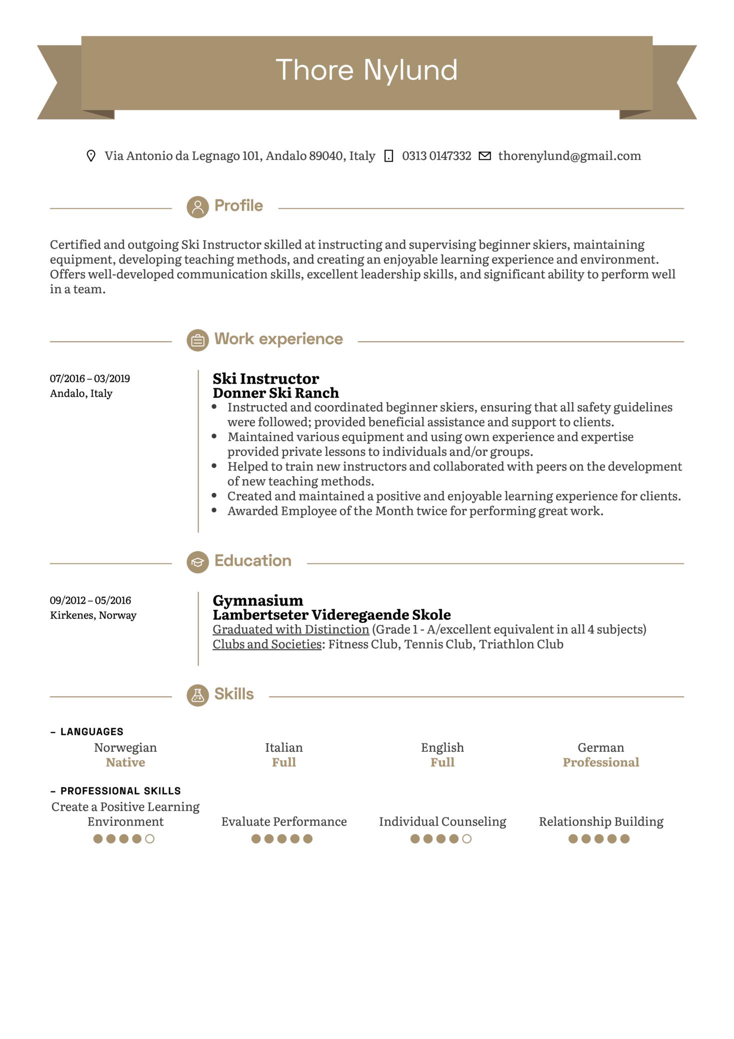 Ski Instructor Resume Example (parte 1)