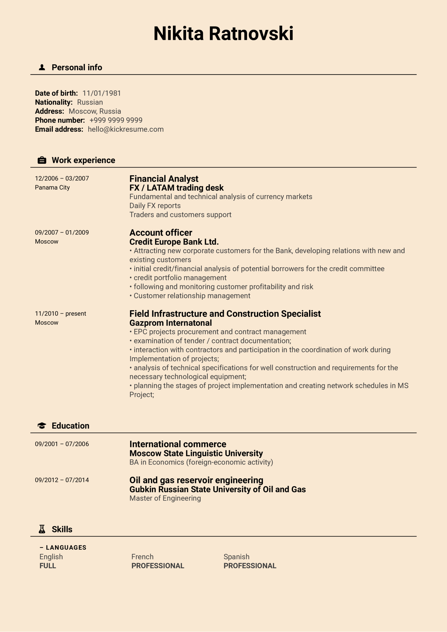 Lukoil Contract Manager Resume Sample (parte 1)