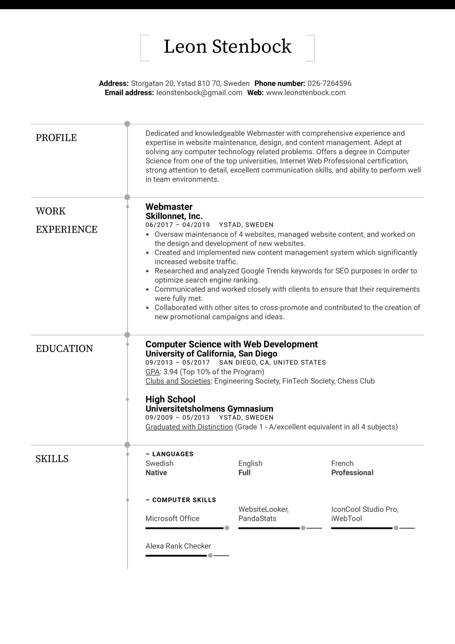 Webmaster Resume Example (Parte 1)