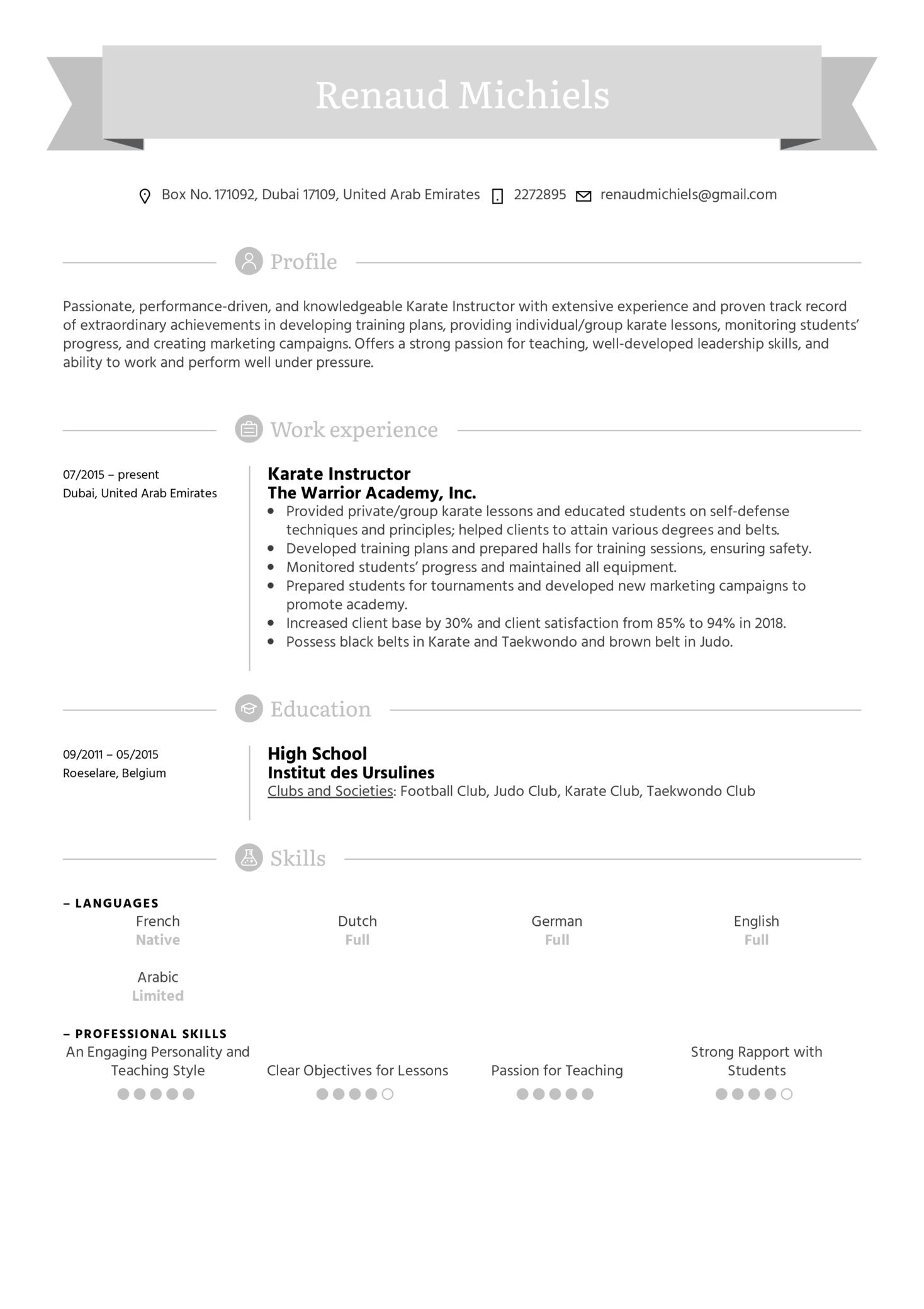 Karate Instructor Resume Sample (Part 1)