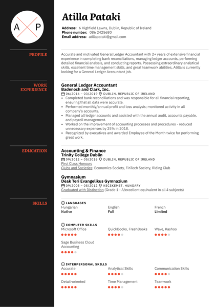 General Ledger Accountant Resume Example