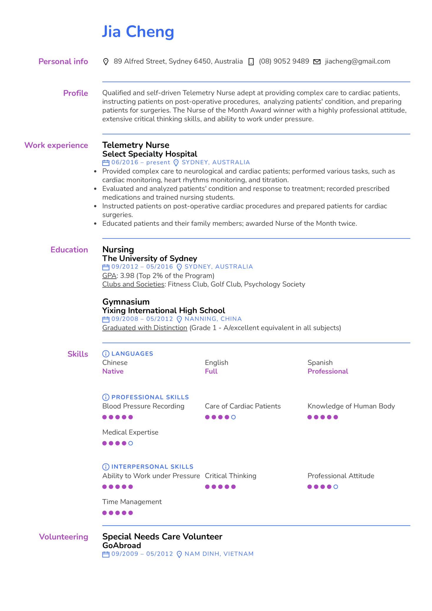 Telemetry Nurse Resume Example (Part 1)