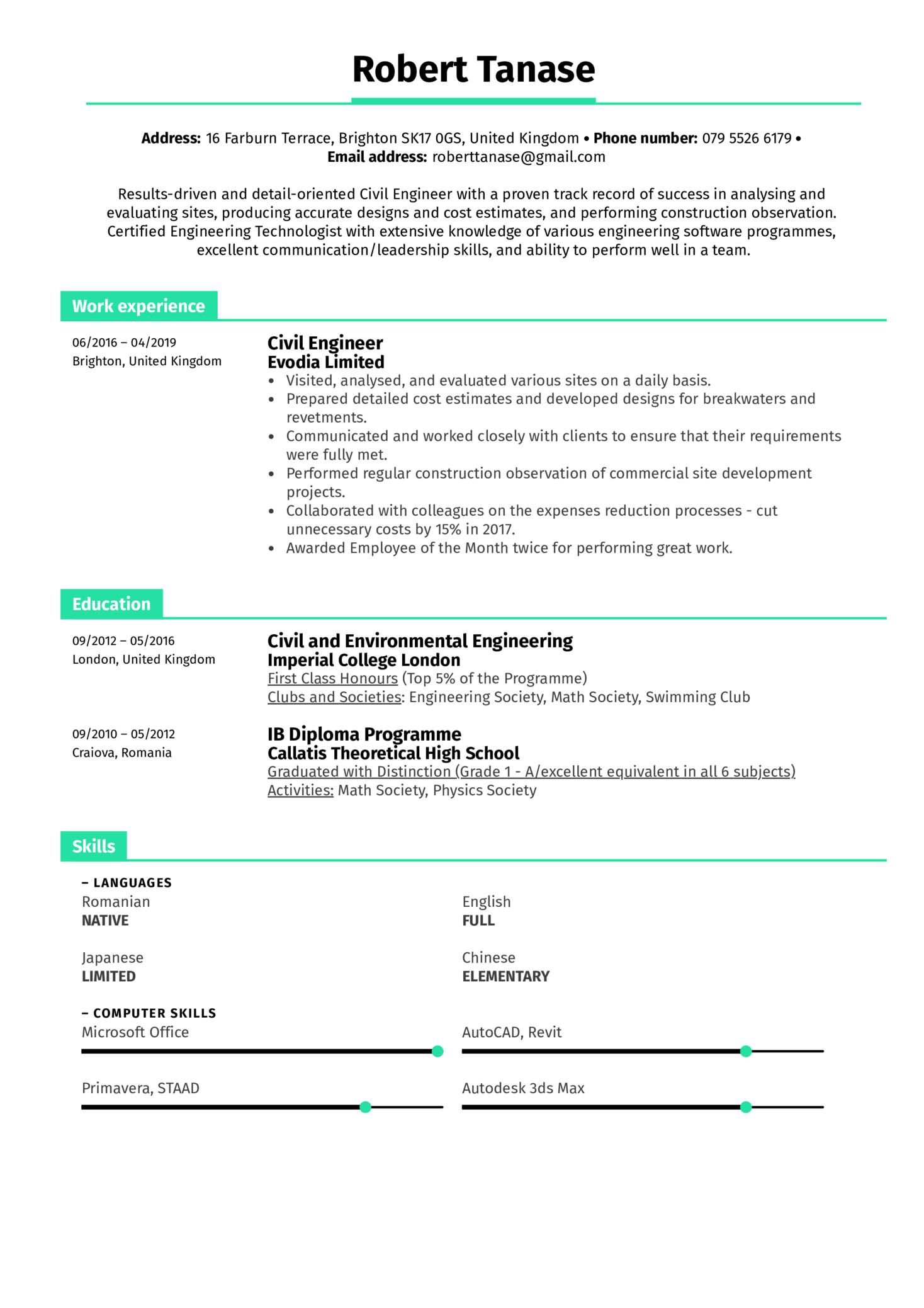 Civil Engineer Resume Example (Part 1)