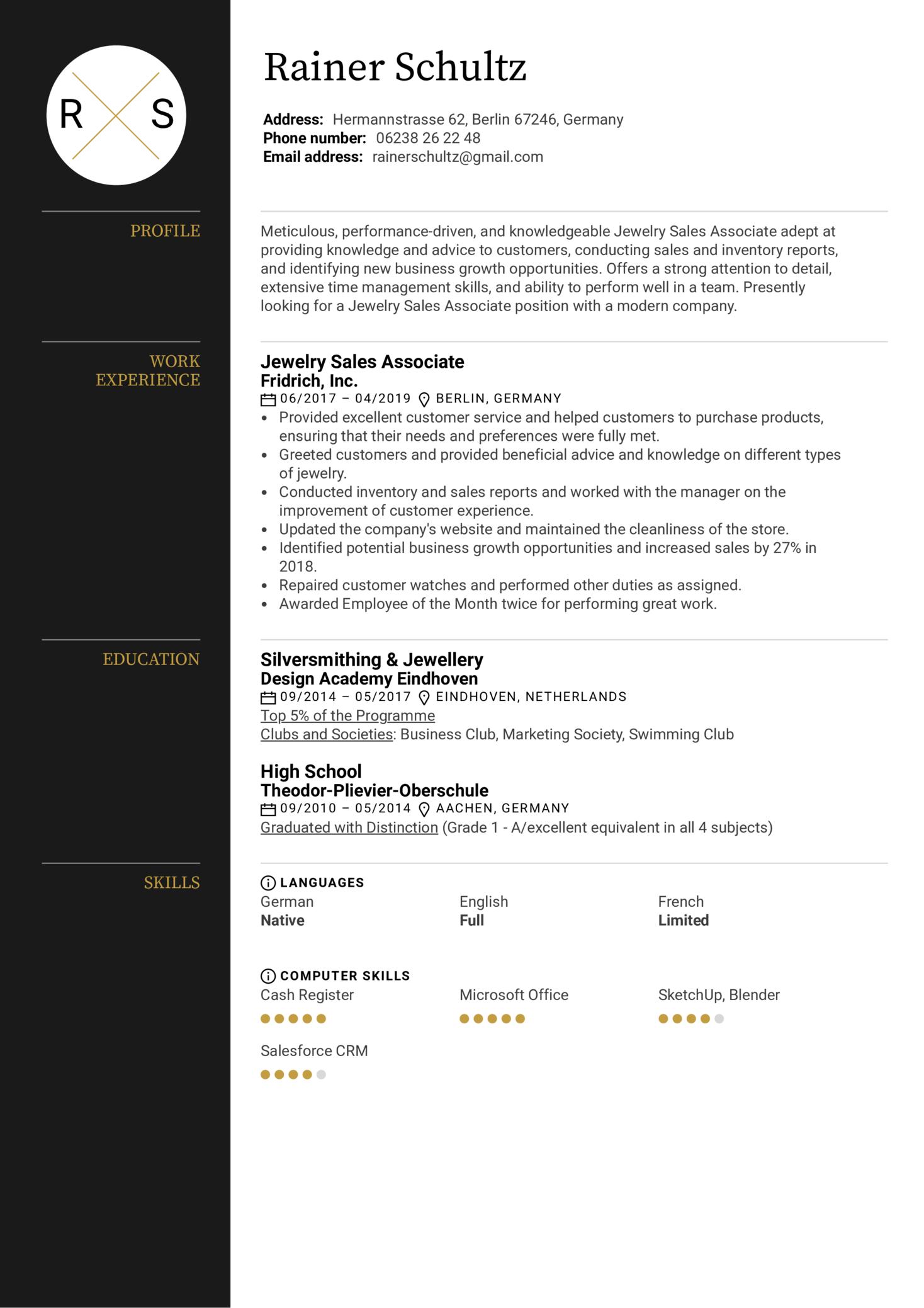 Jewelry Sales Associate Resume Sample (Part 1)