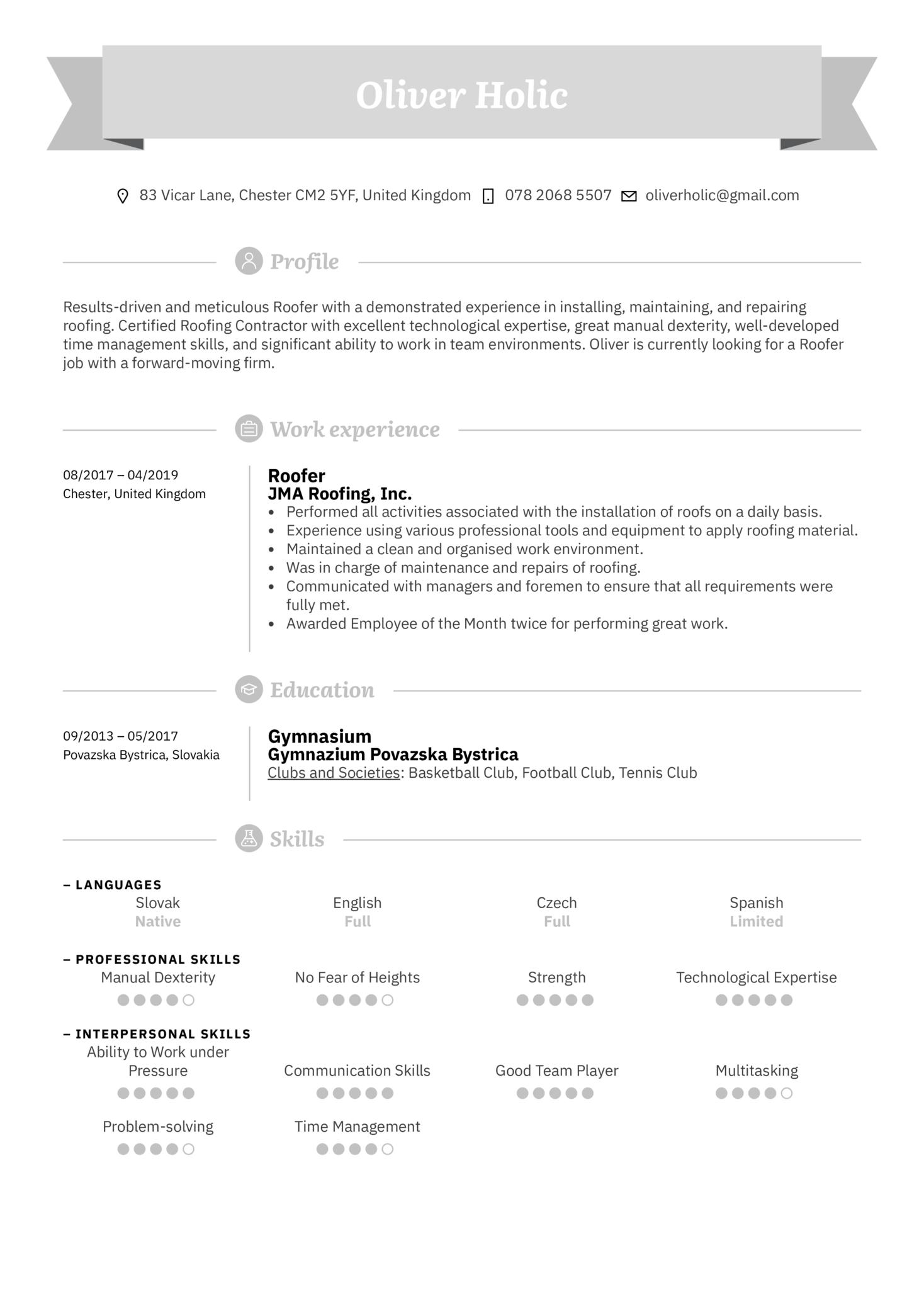 Roofer Resume Sample (Part 1)