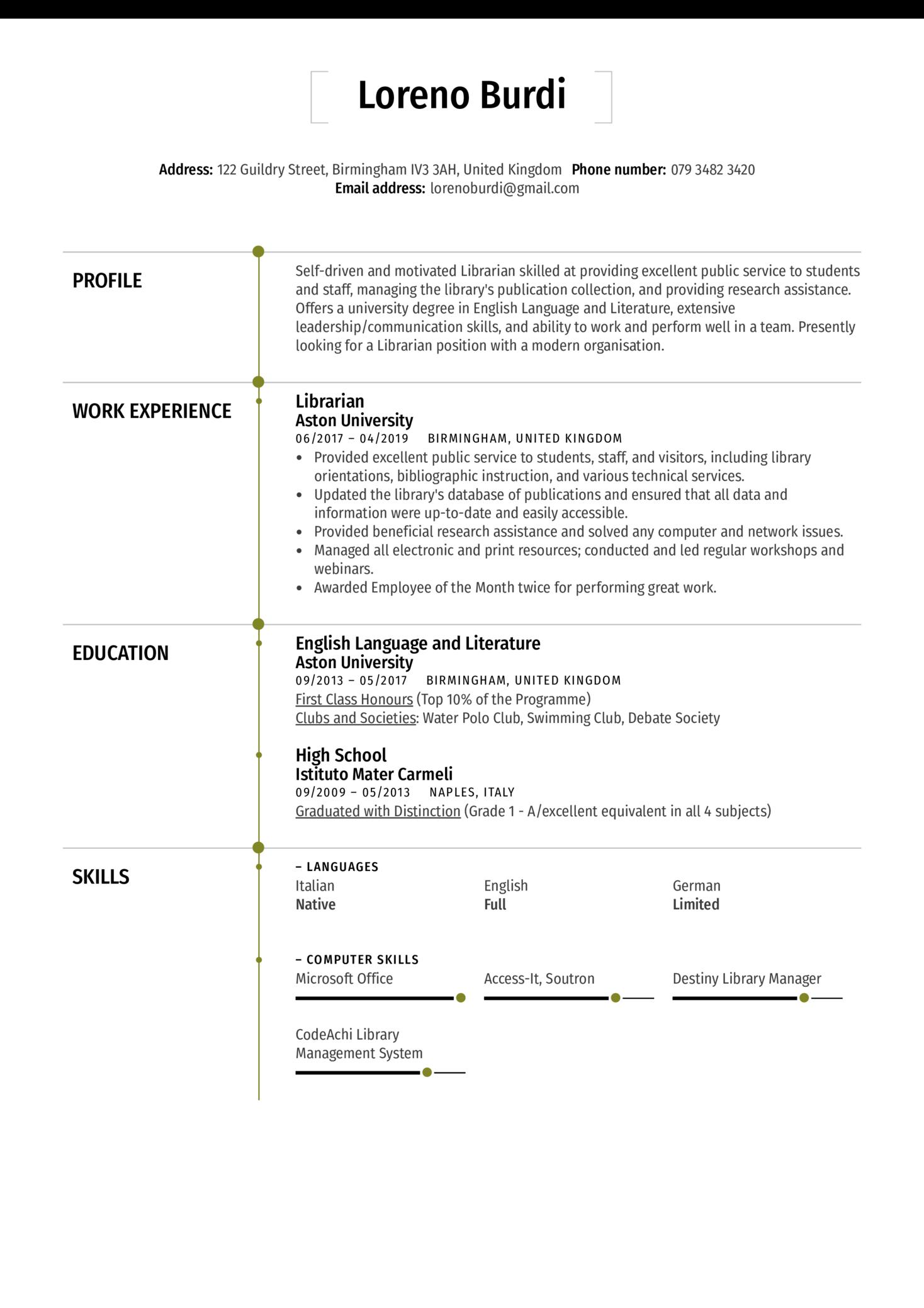 Librarian Resume Sample (Part 1)