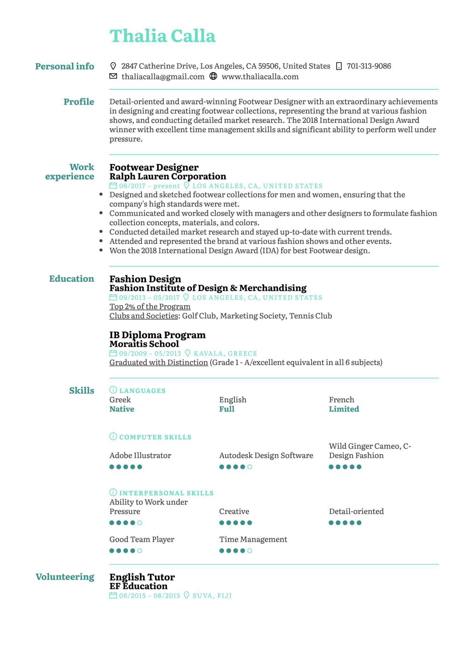Footwear Designer Resume Sample (parte 1)