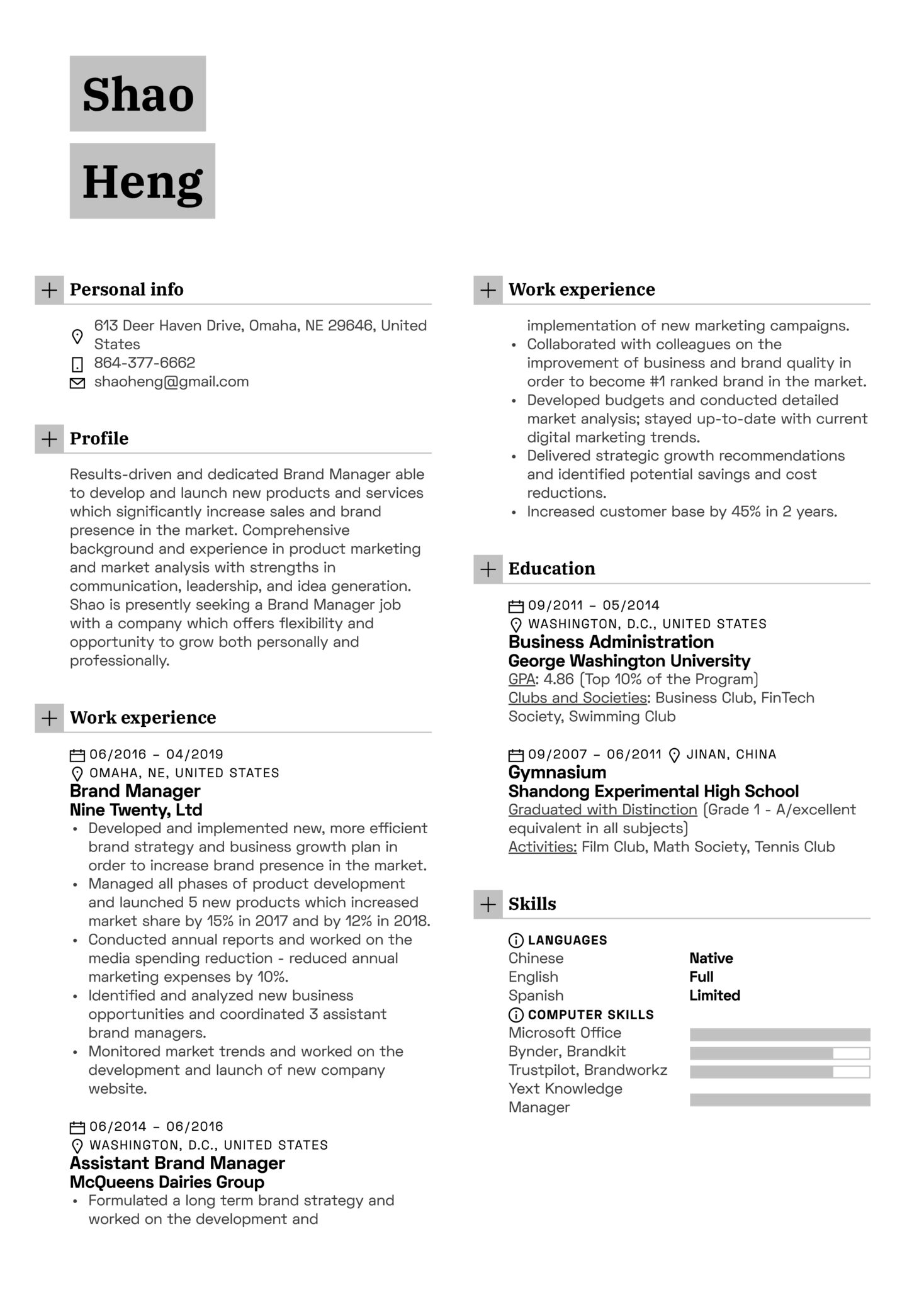 Brand Manager Resume Example (časť 1)