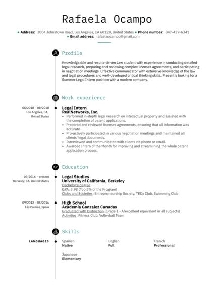 Legal Intern Resume Example