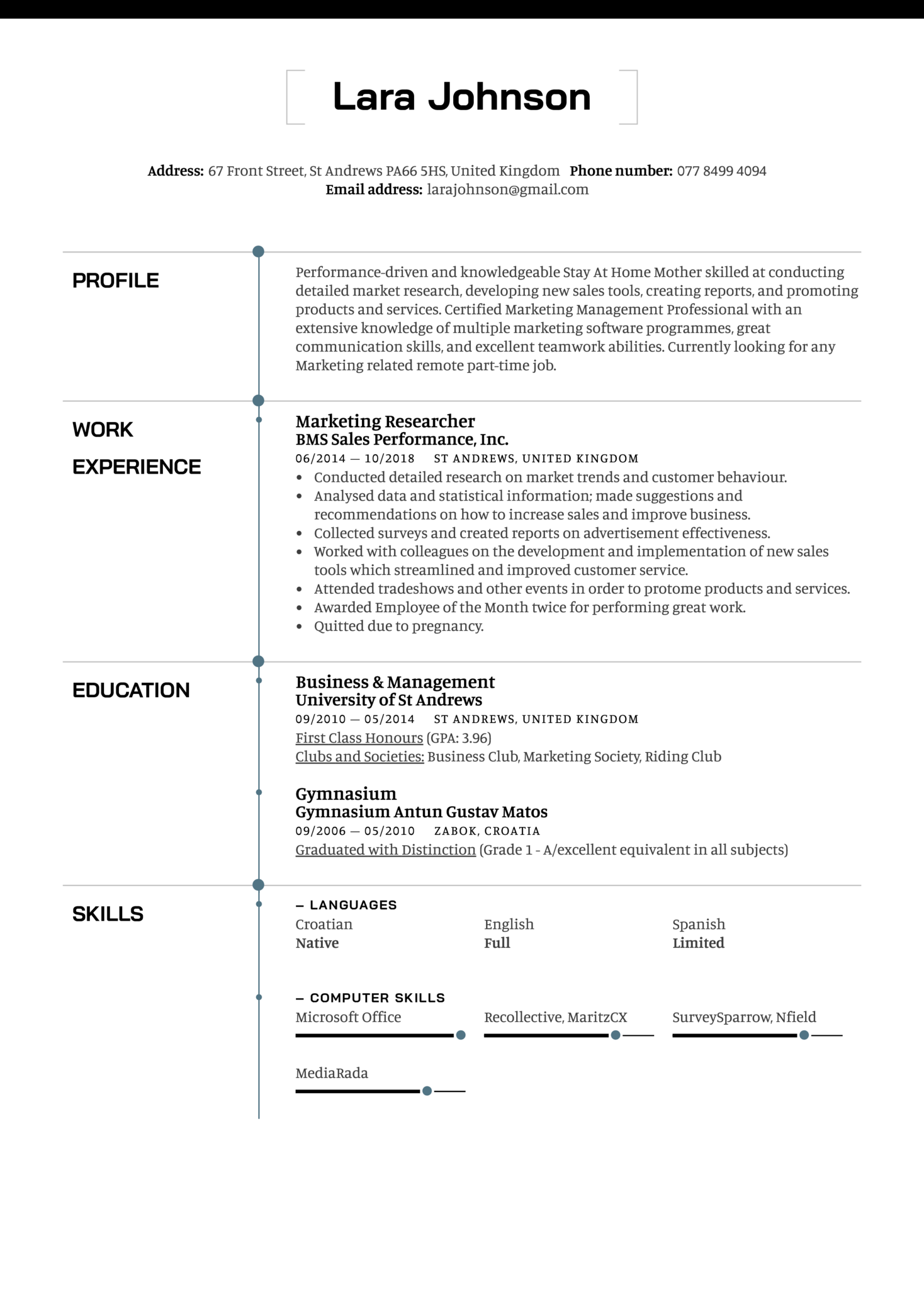 Stay At Home Mother Resume Example (Part 1)