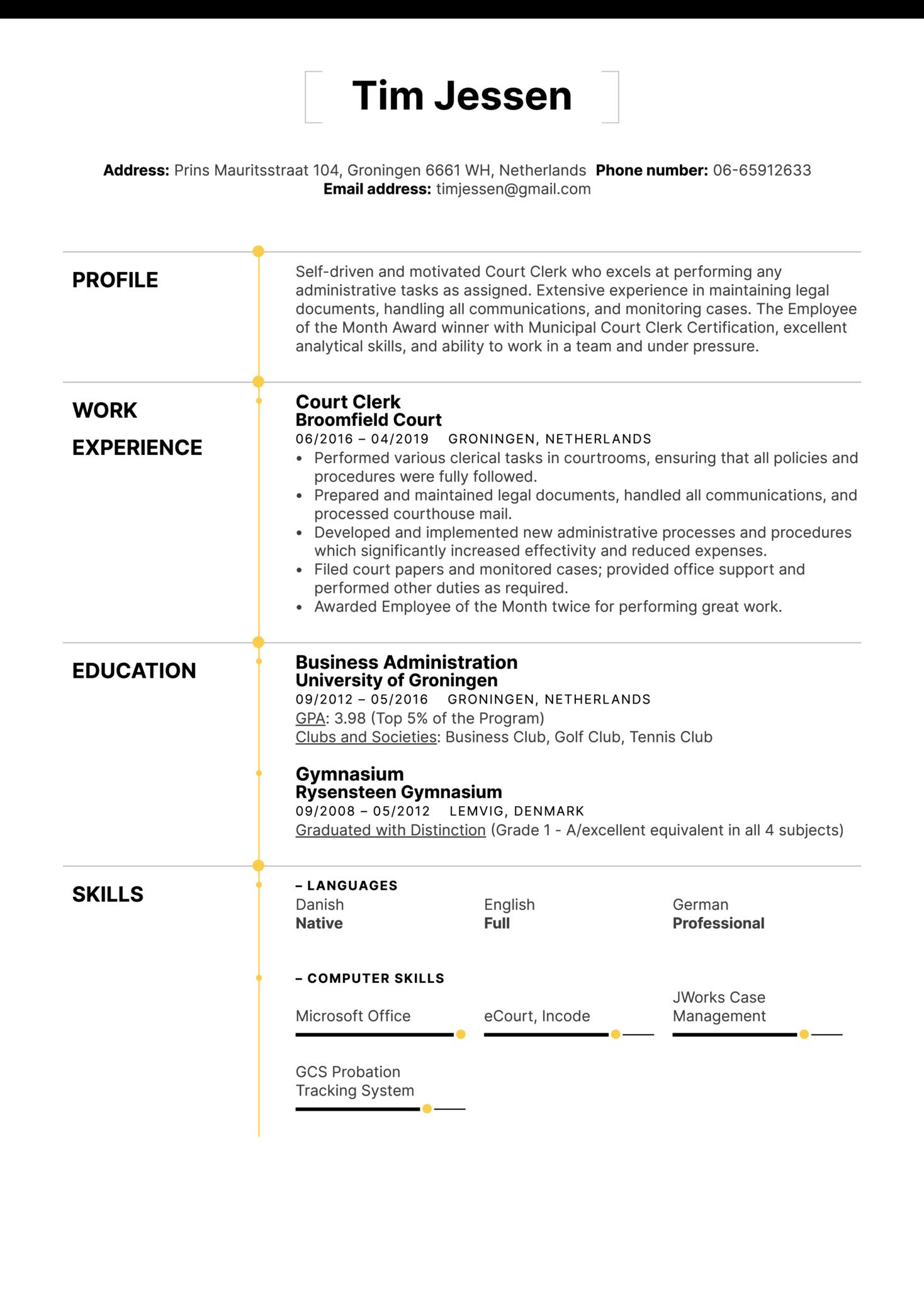 Court Clerk Resume Sample (parte 1)