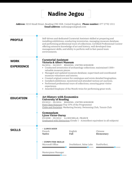 Curatorial Assistant Resume Example