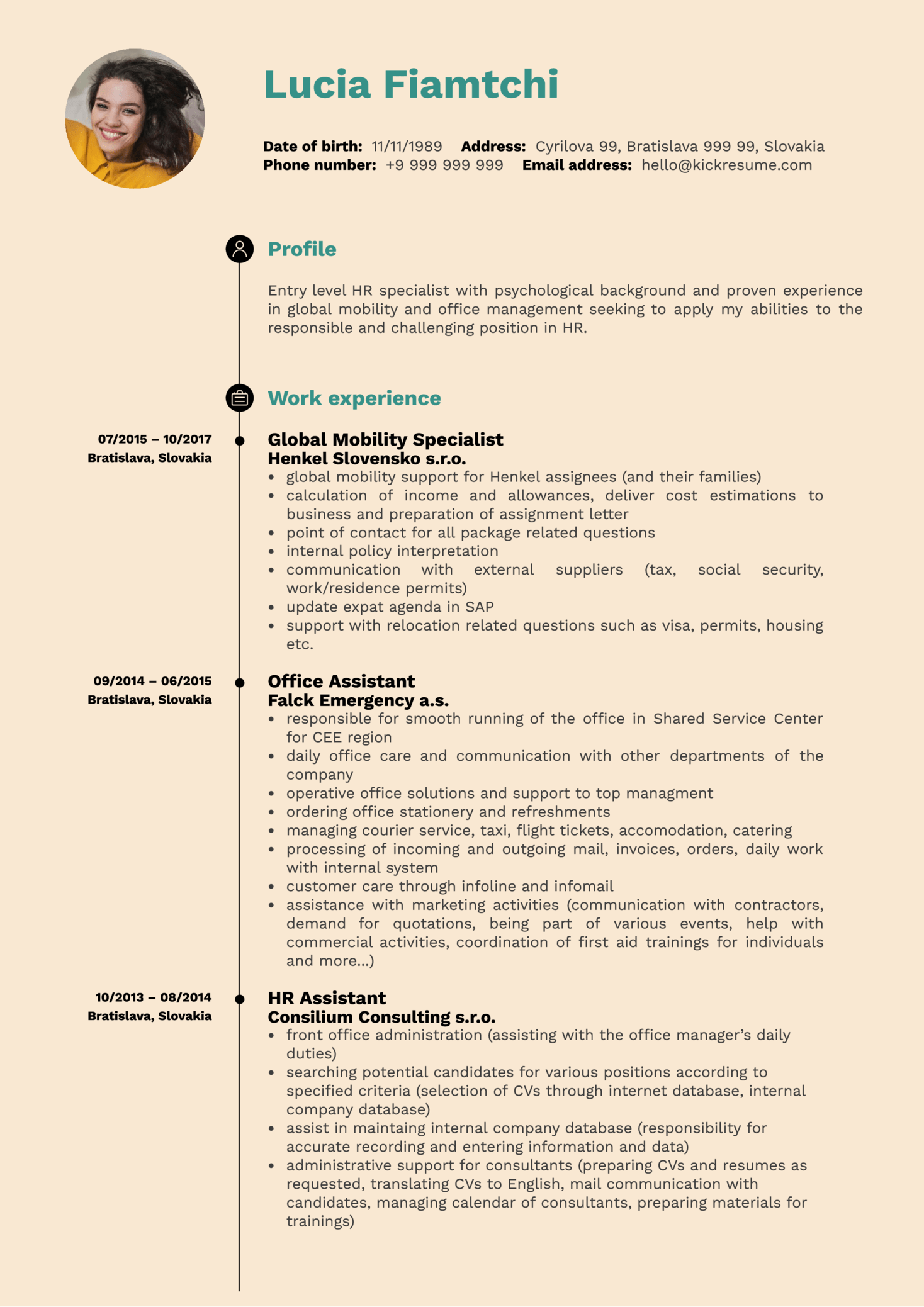 HR Operations Specialist Resume Sample (Parte 1)