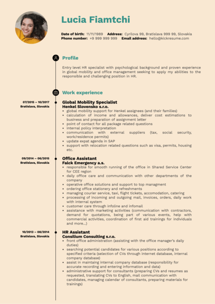 HR Operations Specialist Resume Sample