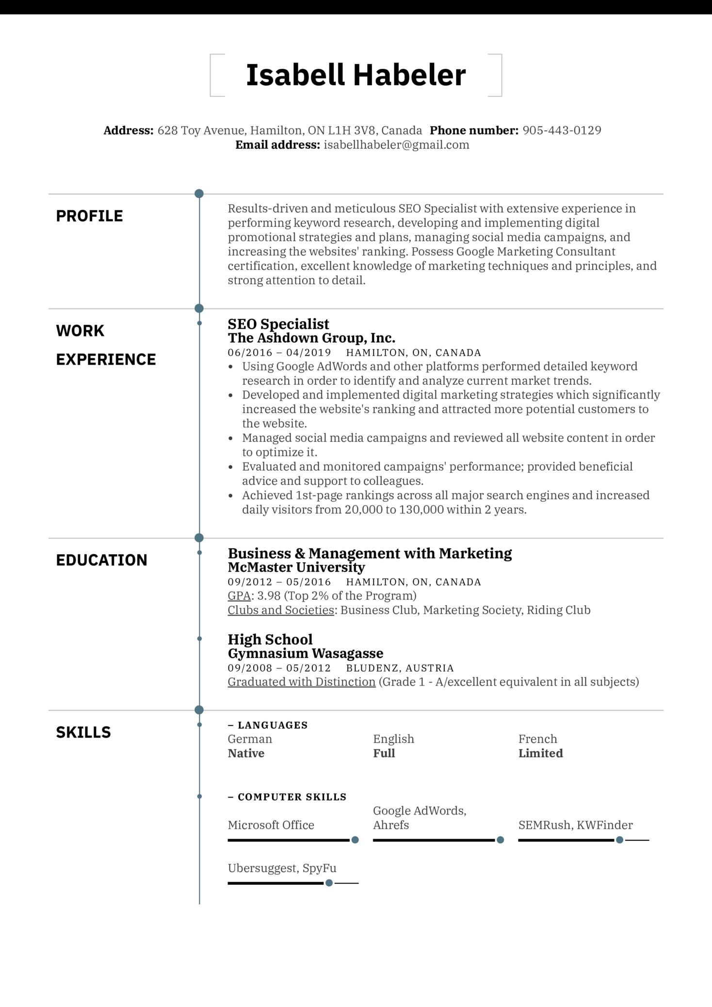 SEO Specialist Resume Sample (Part 1)