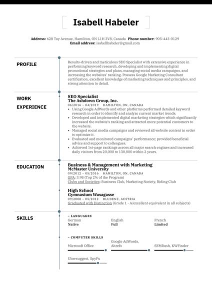 SEO Specialist Resume Sample