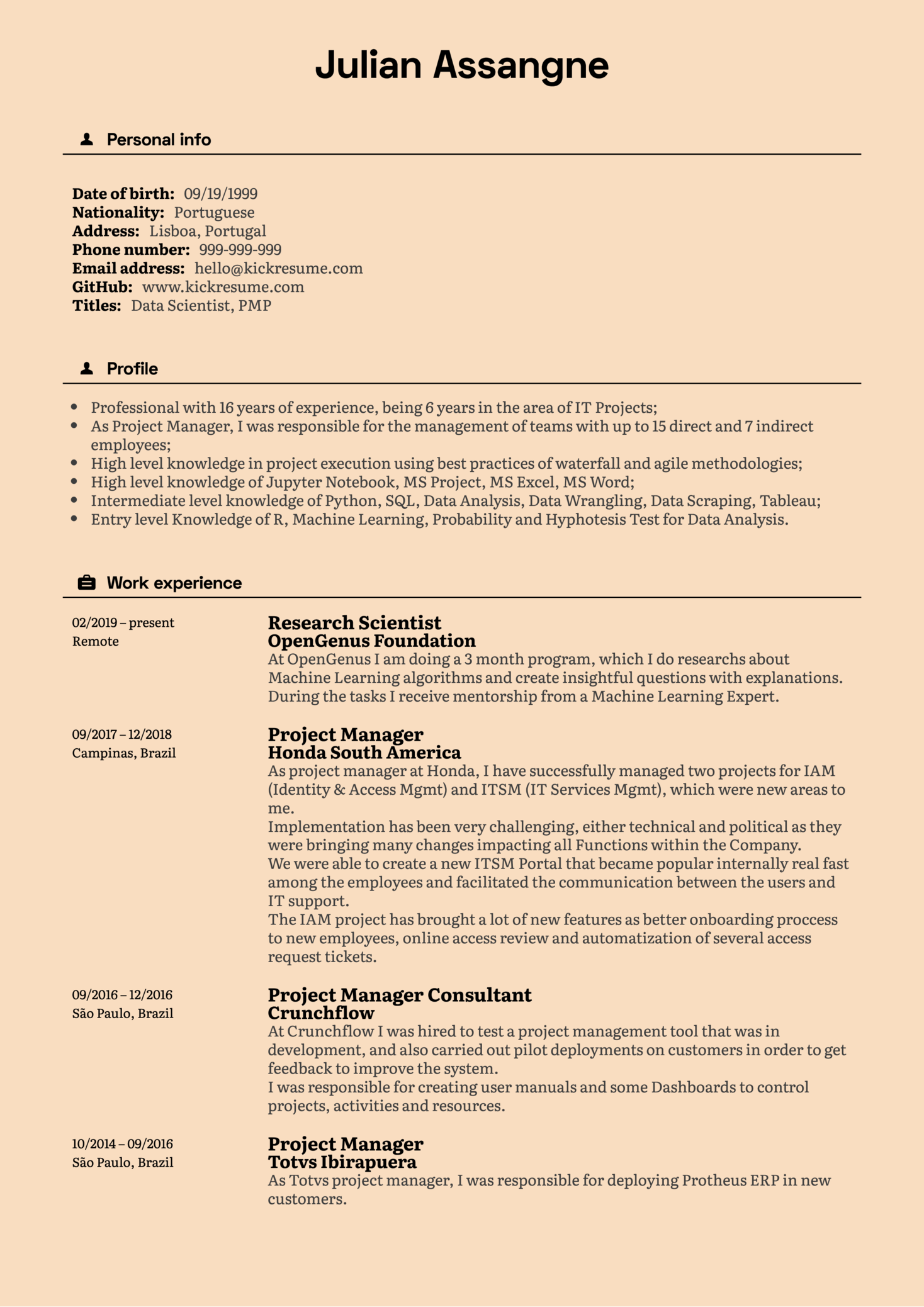Senior Project Manager CV Example (Part 1)