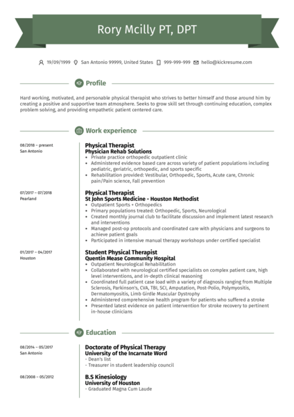 Physical Therapist in Pediatric Centre CV Example