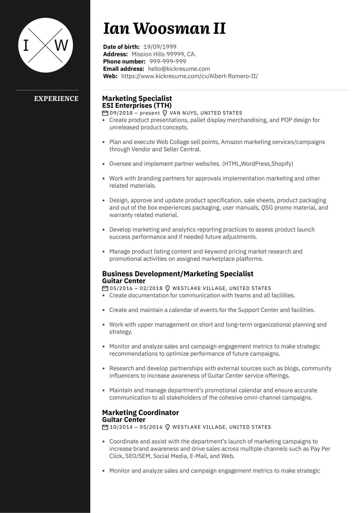 Marketing Specialist Resume Sample (časť 1)