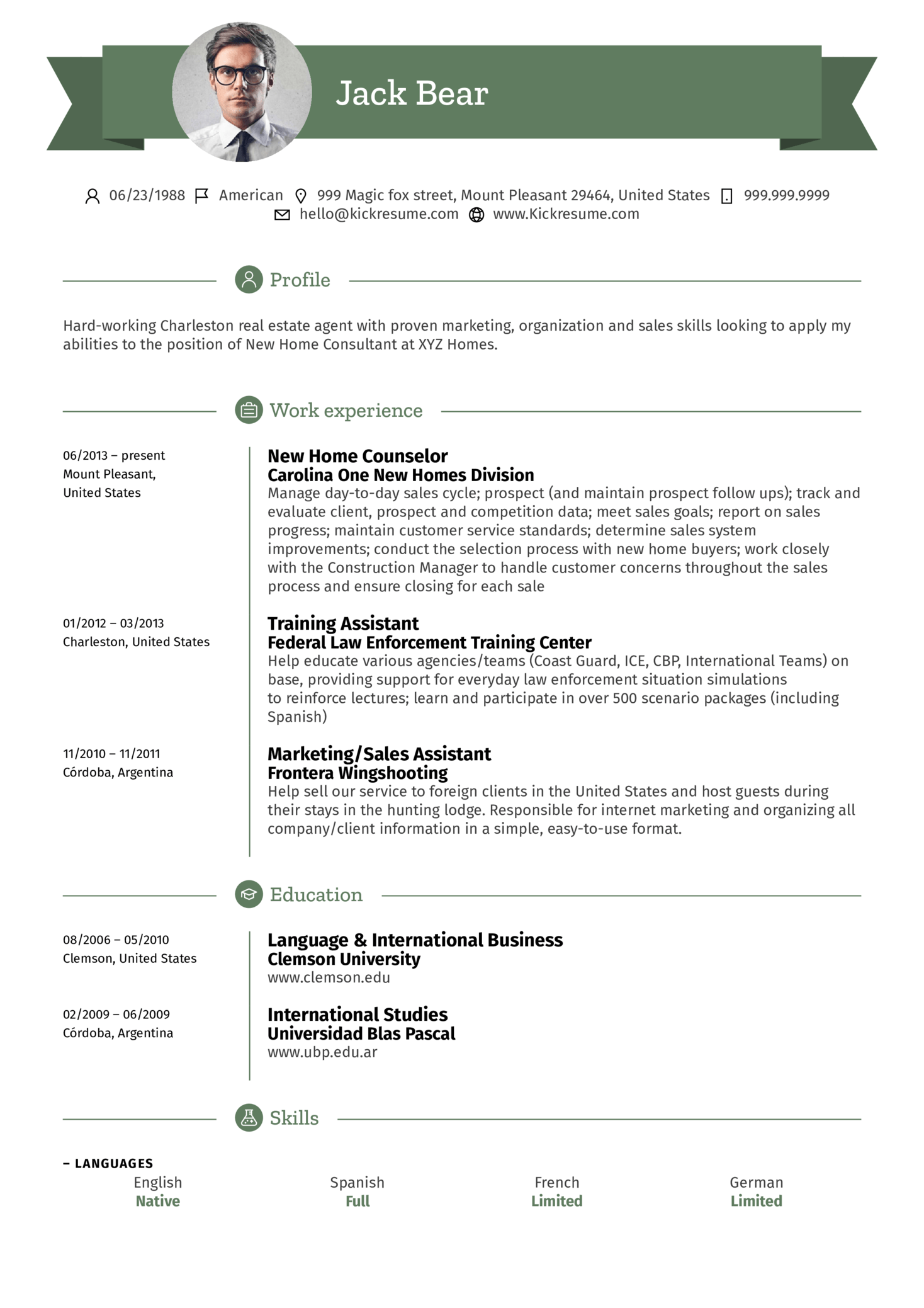 Assistant, Real Estate Agent Resume Example (Part 1)