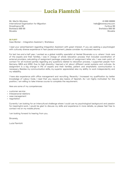 HR Operations Specialist Cover Letter Sample