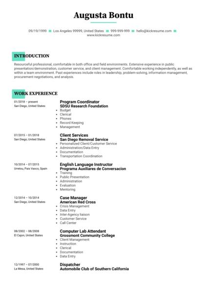 San Diego State University Project Coordinator Resume Sample