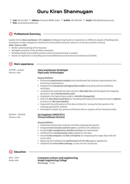 Integration Engineer CV Sample