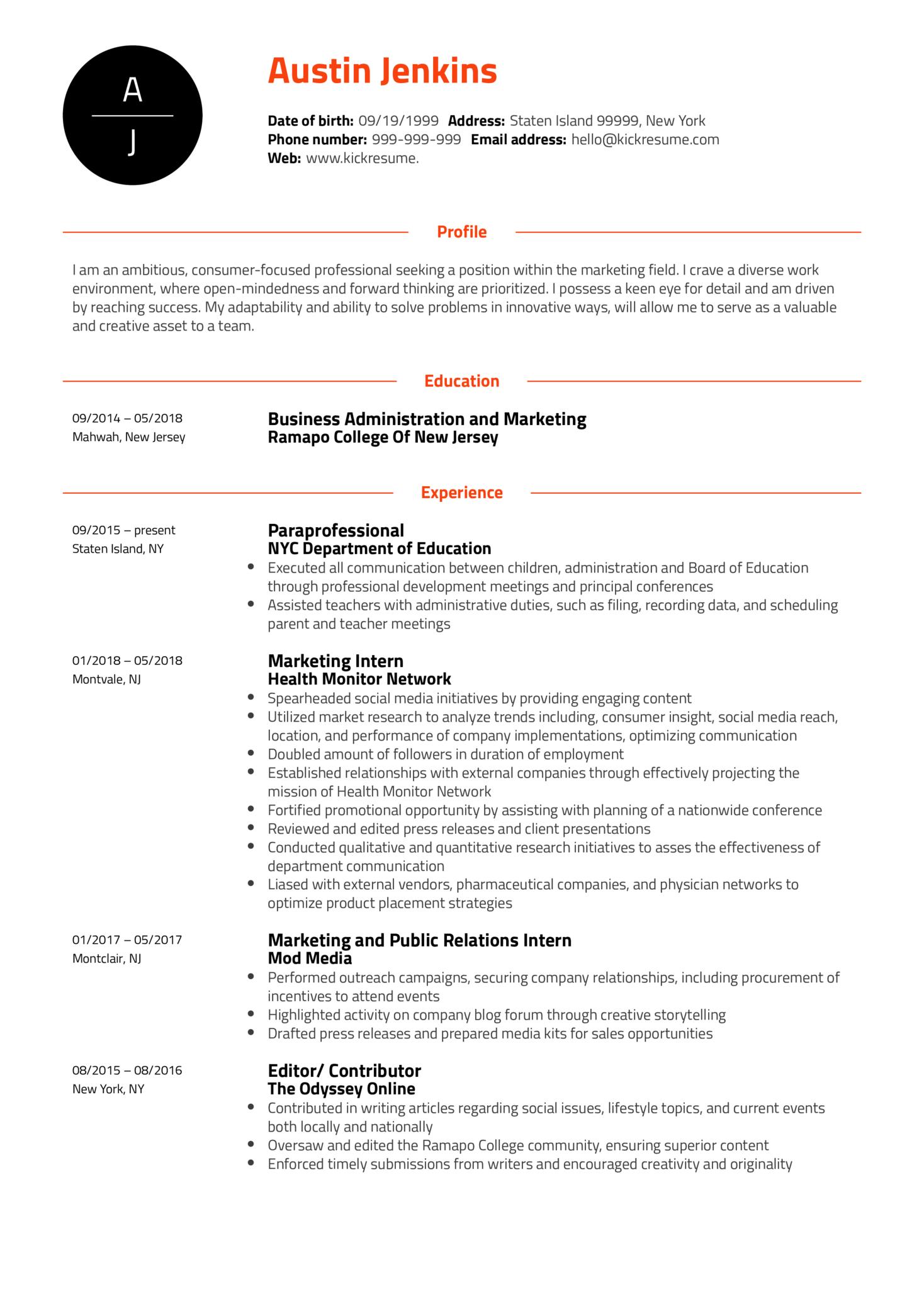 Project Coordinator at Ogilvy Health Resume Sample (Part 1)