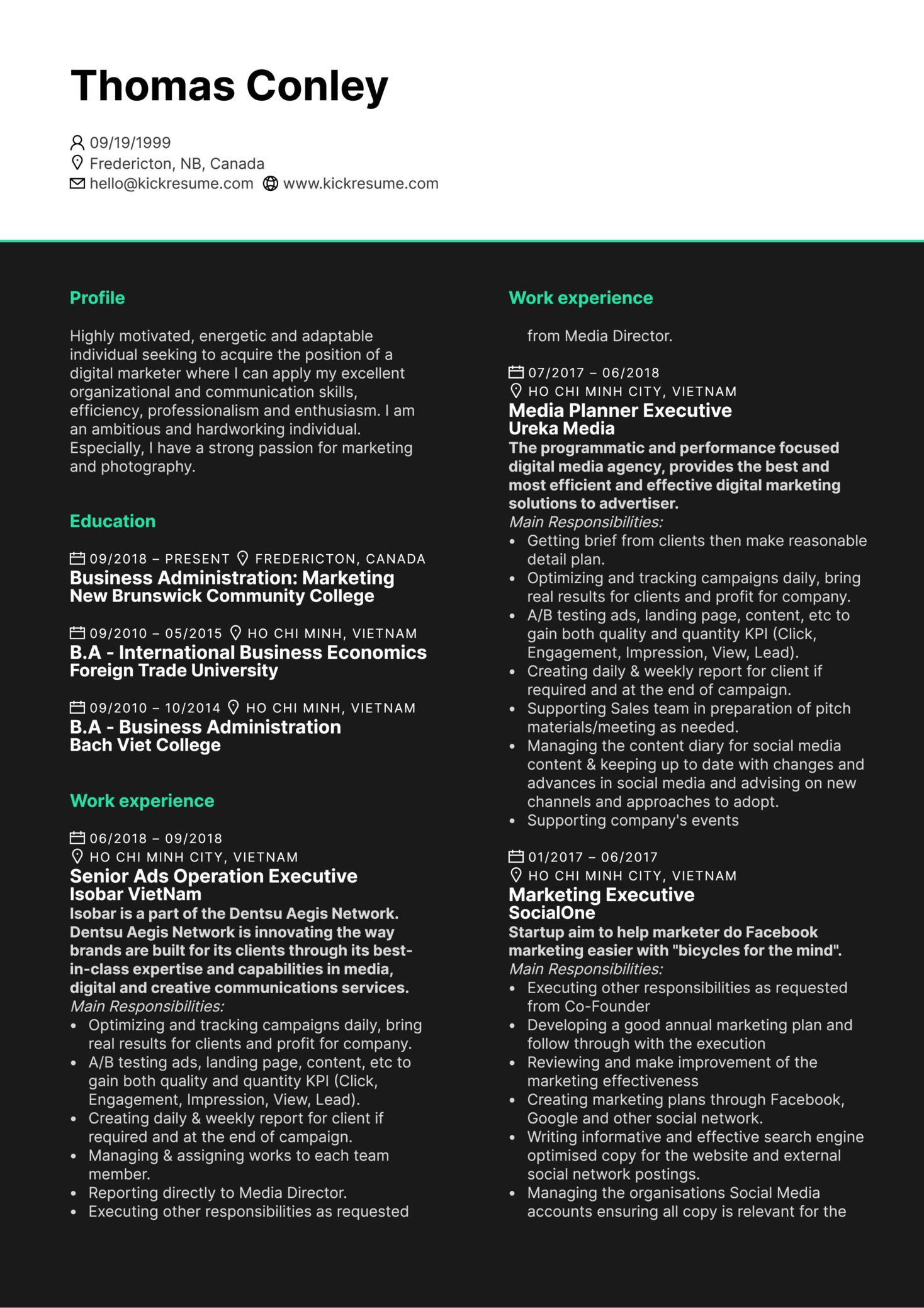 Senior Media Executive CV Example (Parte 1)