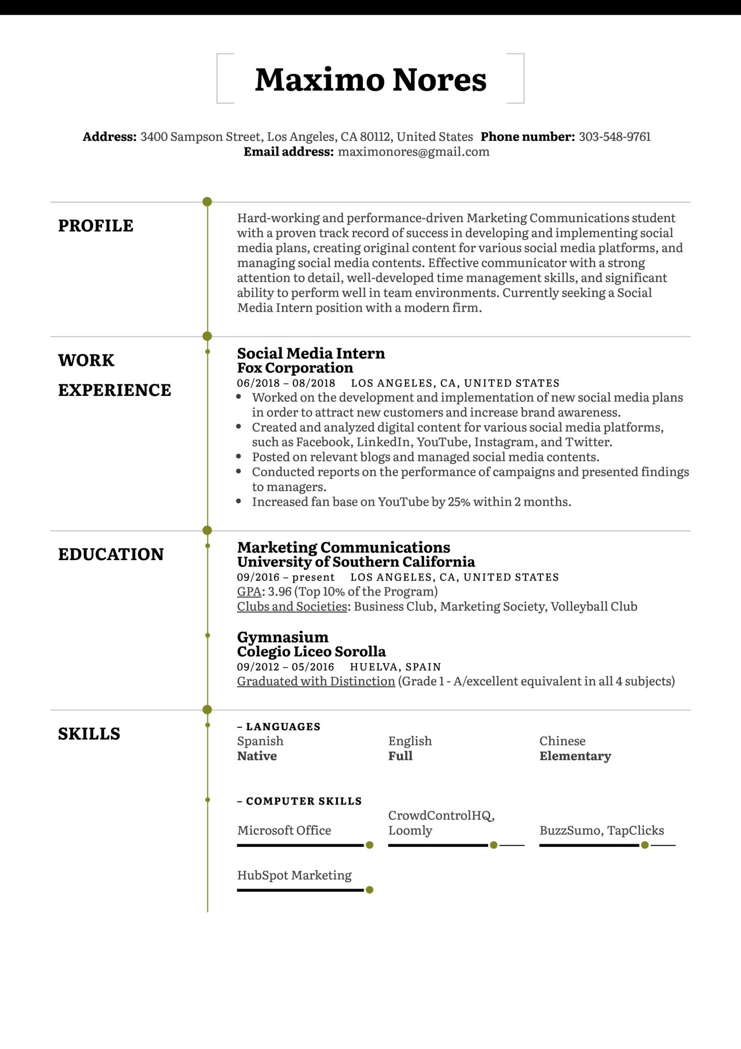 Social Media Intern Resume Example (Parte 1)