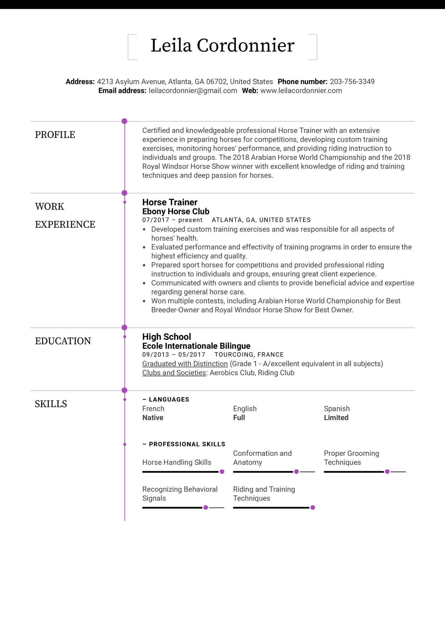 Horse Trainer Resume Sample (Parte 1)