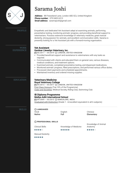Vet Assistant Resume Template