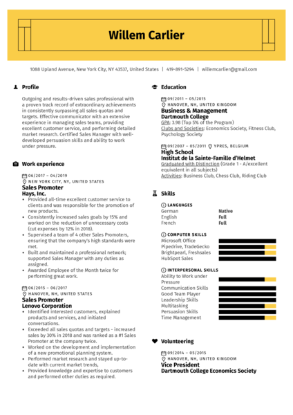 Sales Promoter Resume Example