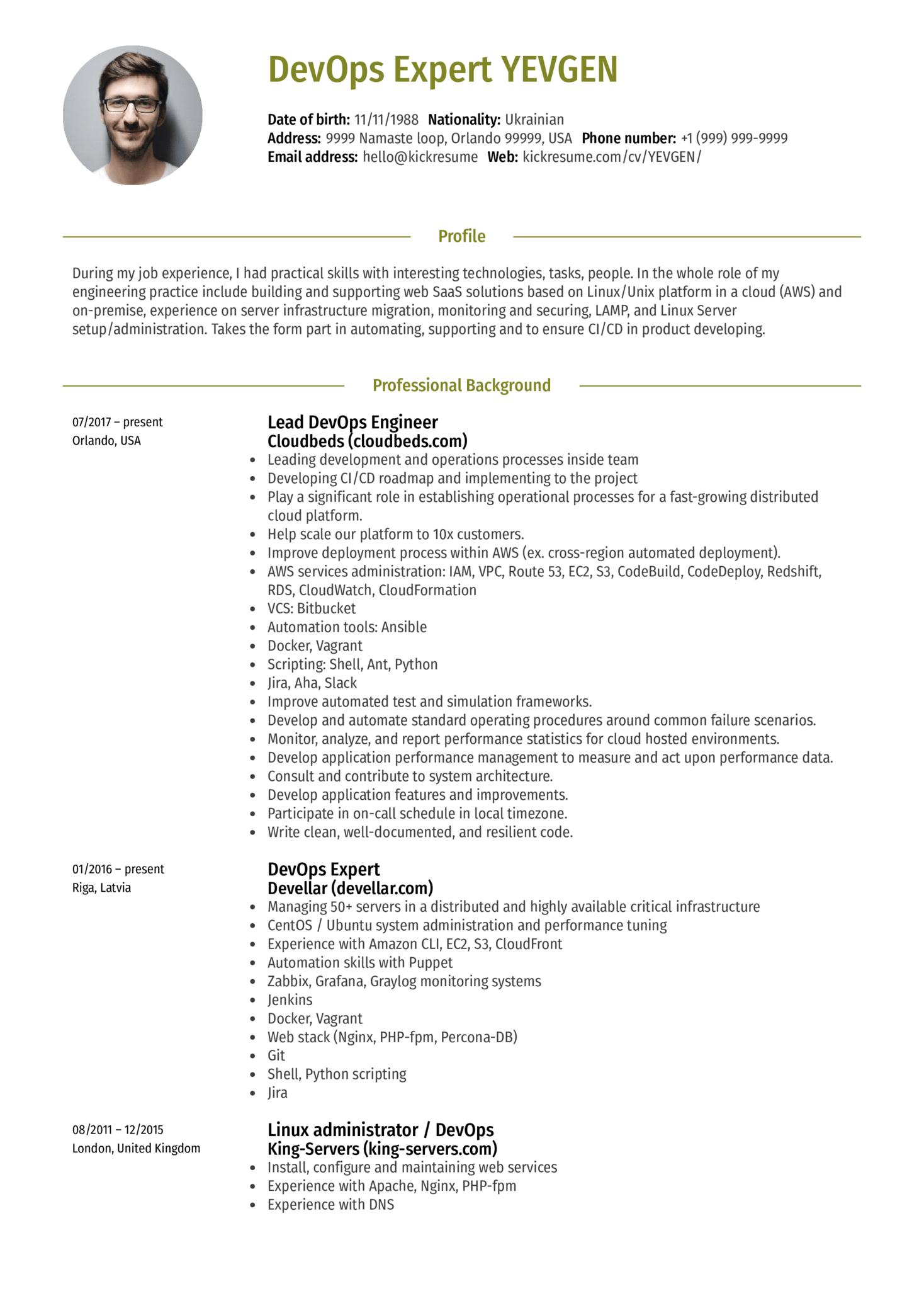 Lead Devops Engineer Resume Sample (časť 1)