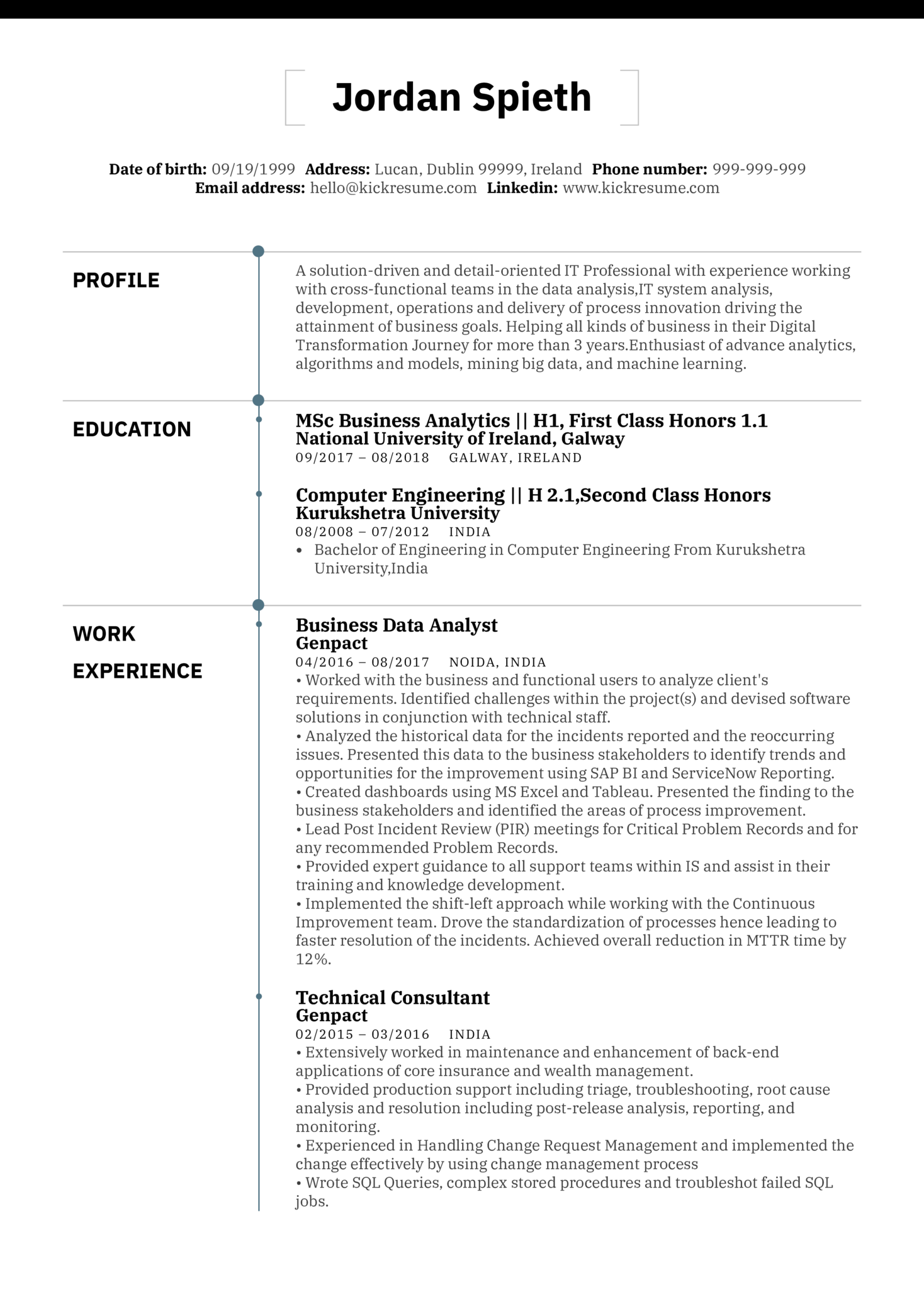 Business Analyst Resume Sample (Teil 1)