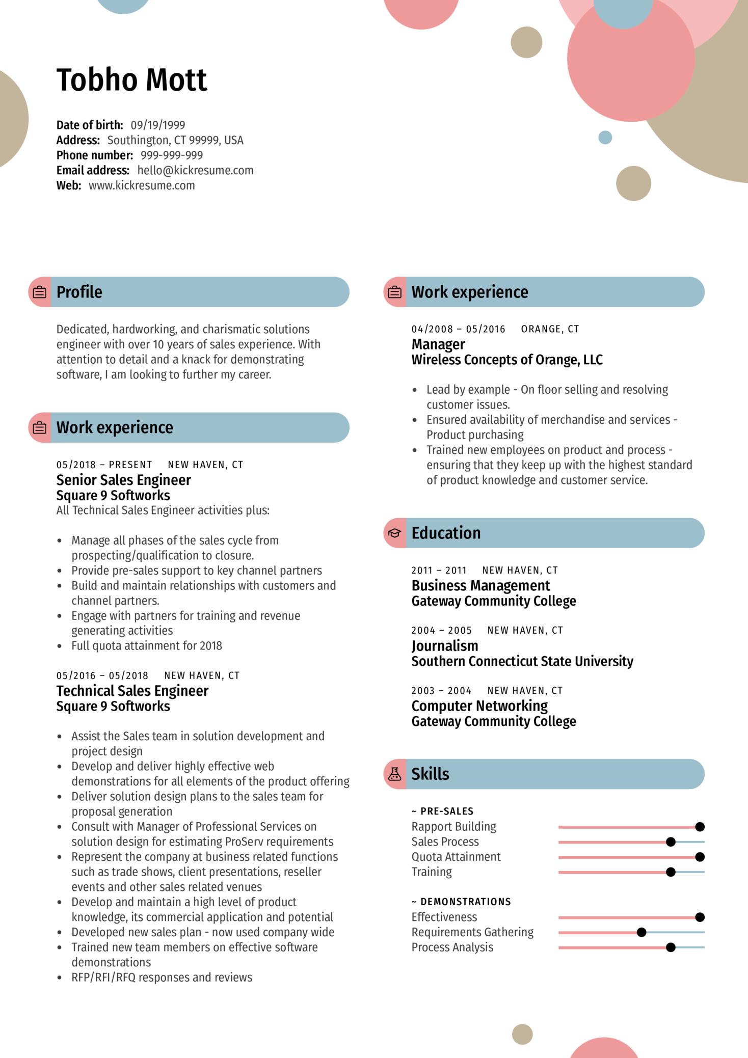 Sales Manager Resume Sample (Part 1)