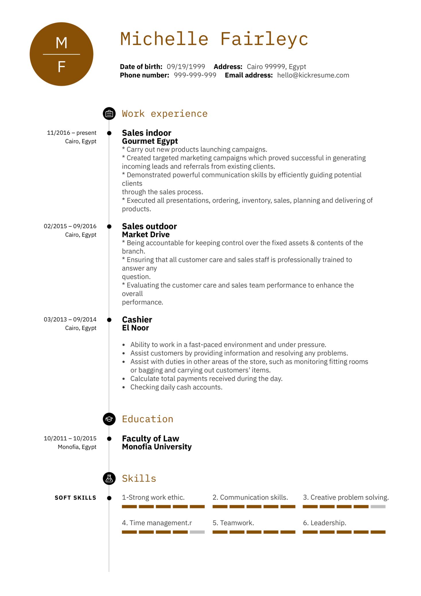 Sales Representative CV Example (Teil 1)