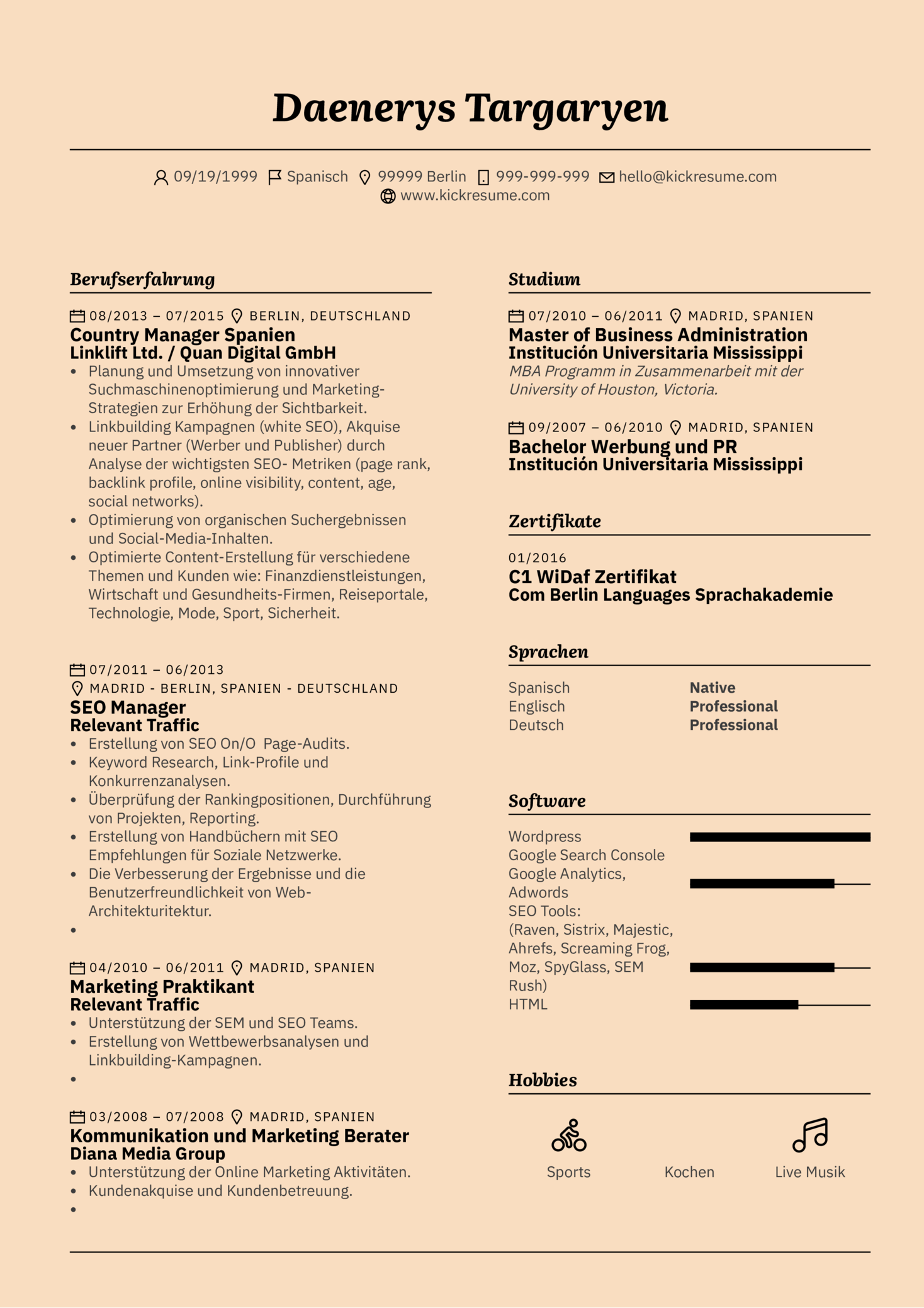 Customers Support Assistant Resume Sample (german) (parte 1)