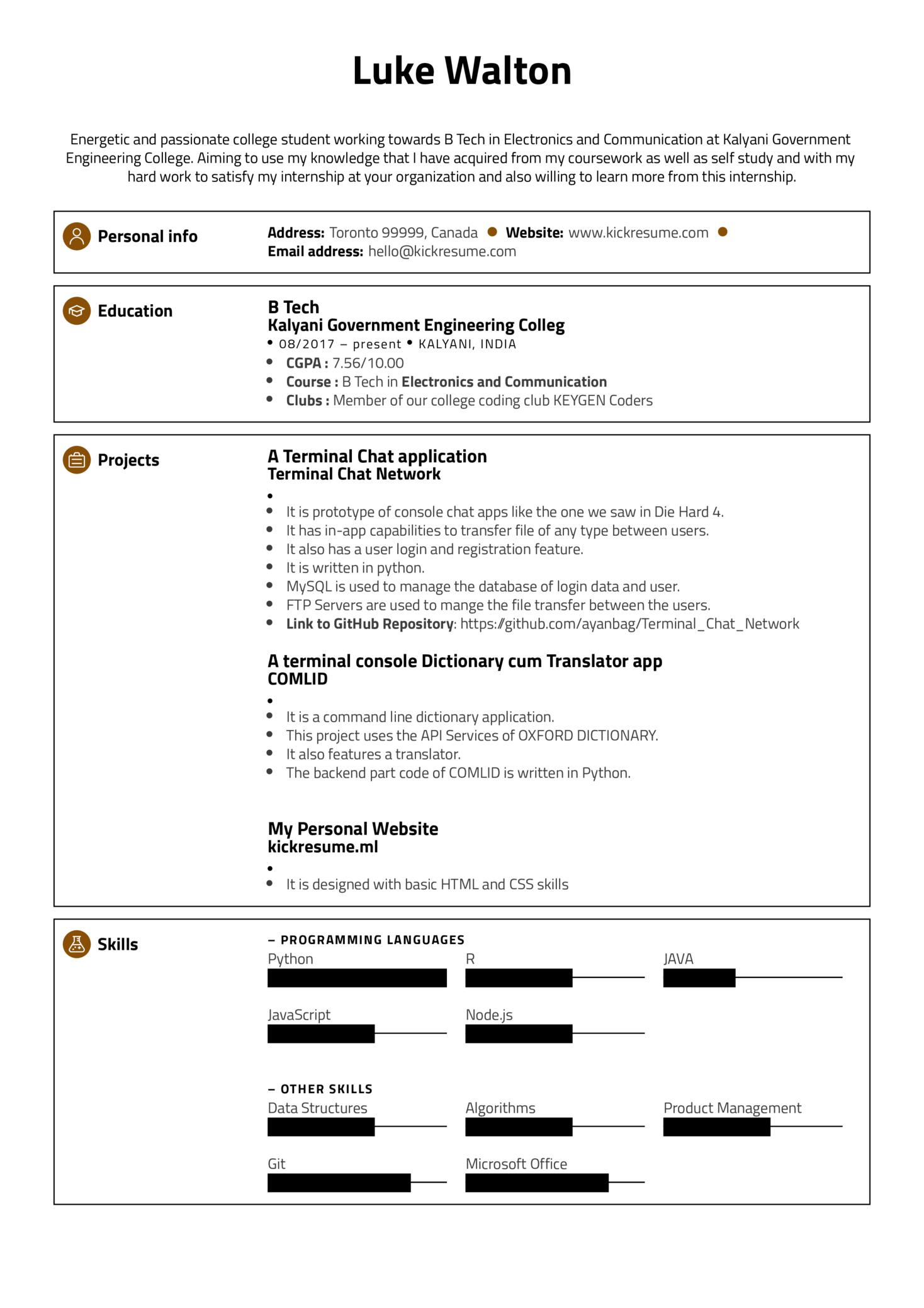 Google Software Engineering Intern Resume Sample (Teil 1)