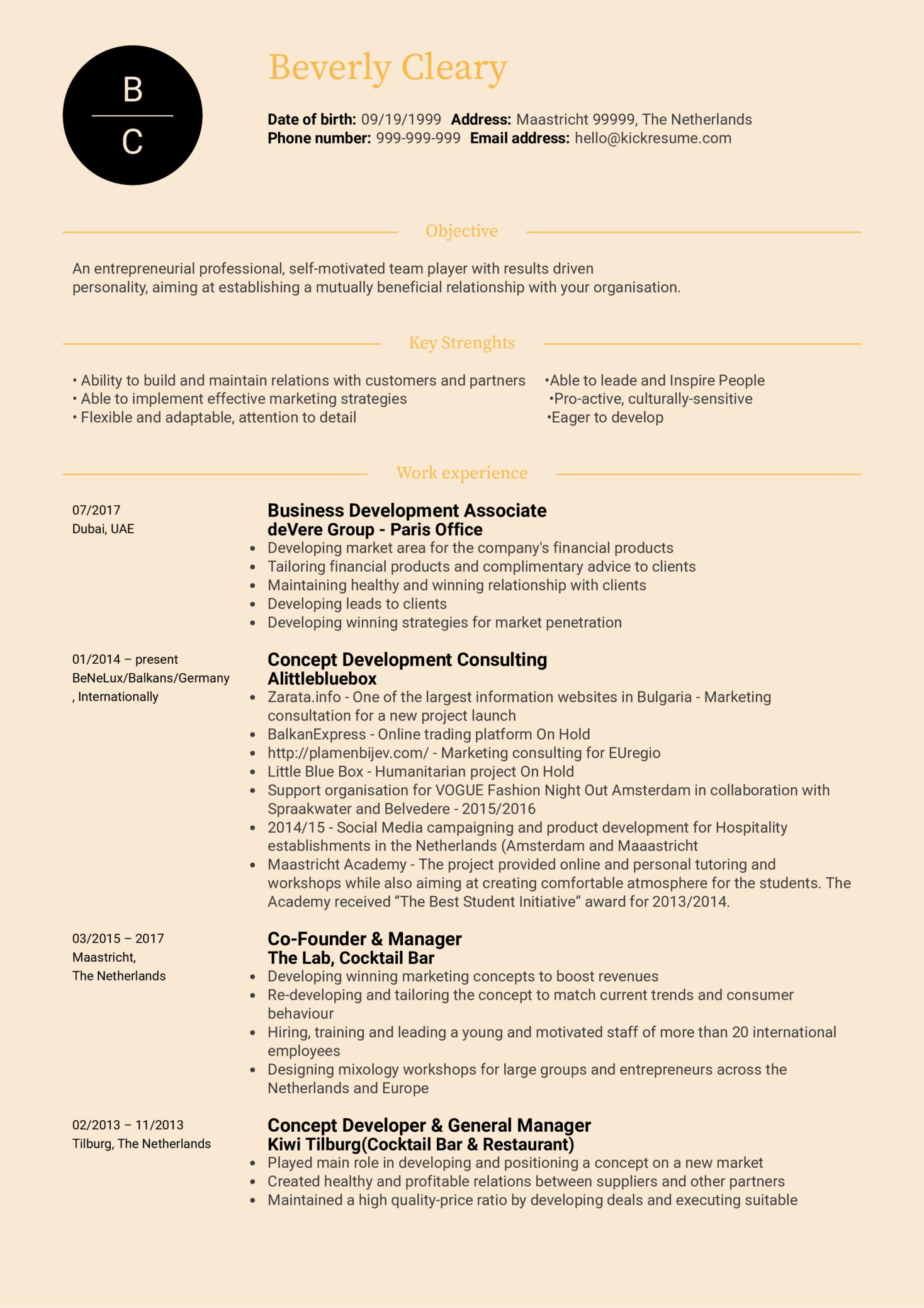 Marketing Manager Resume Sample (Part 1)