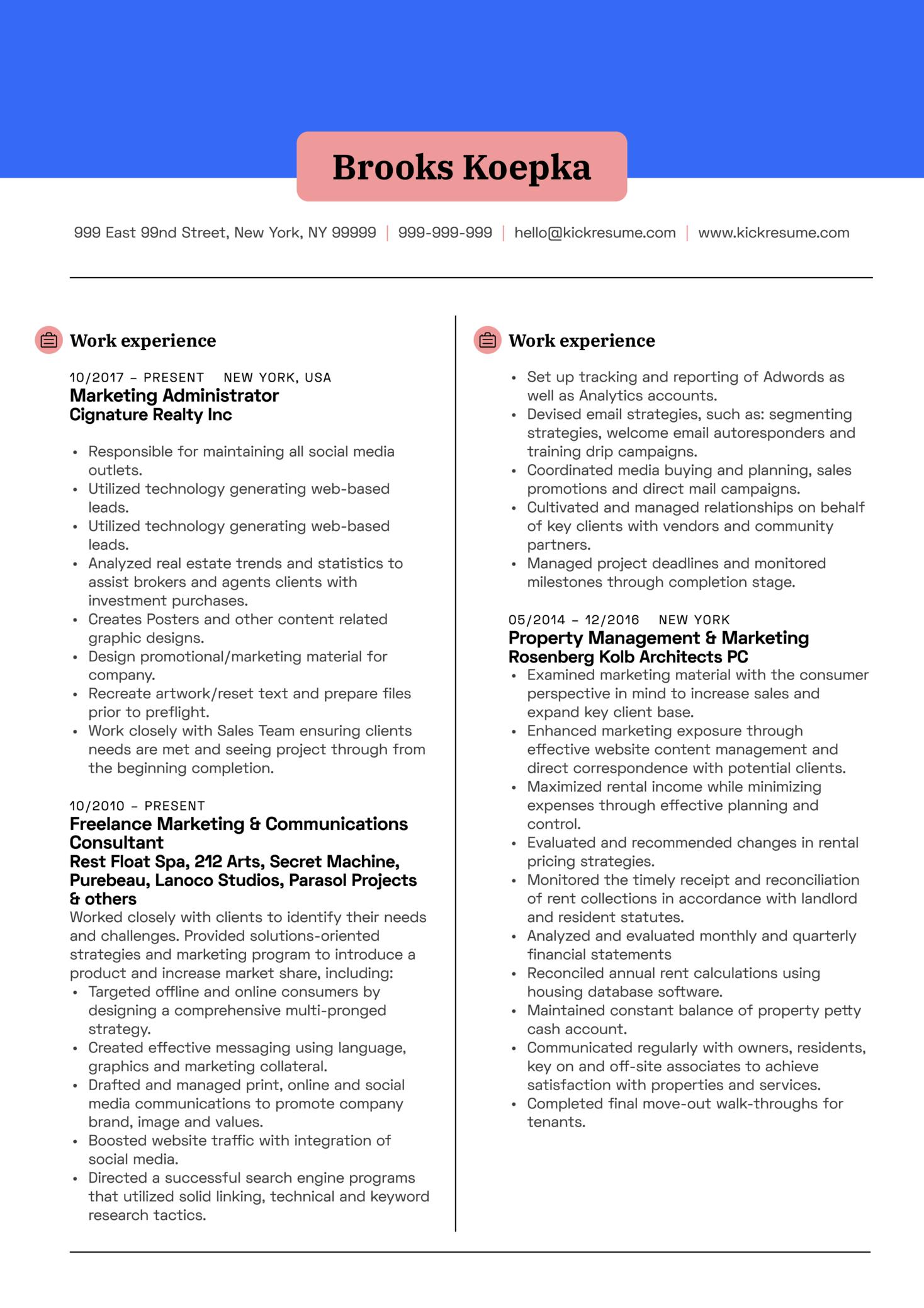 Marketing Manager CV Example (parte 1)