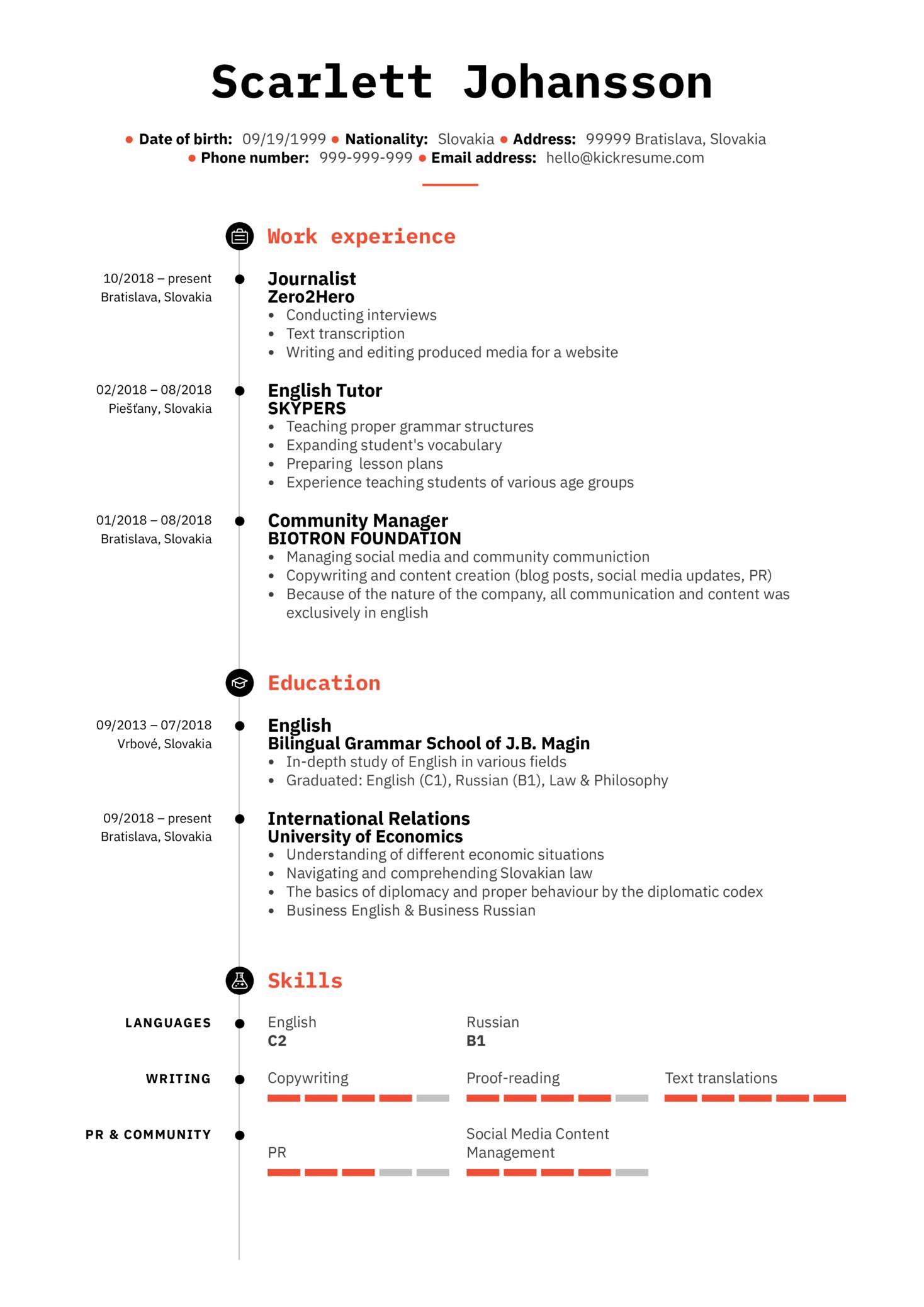 English Tutor Resume Sample (parte 1)