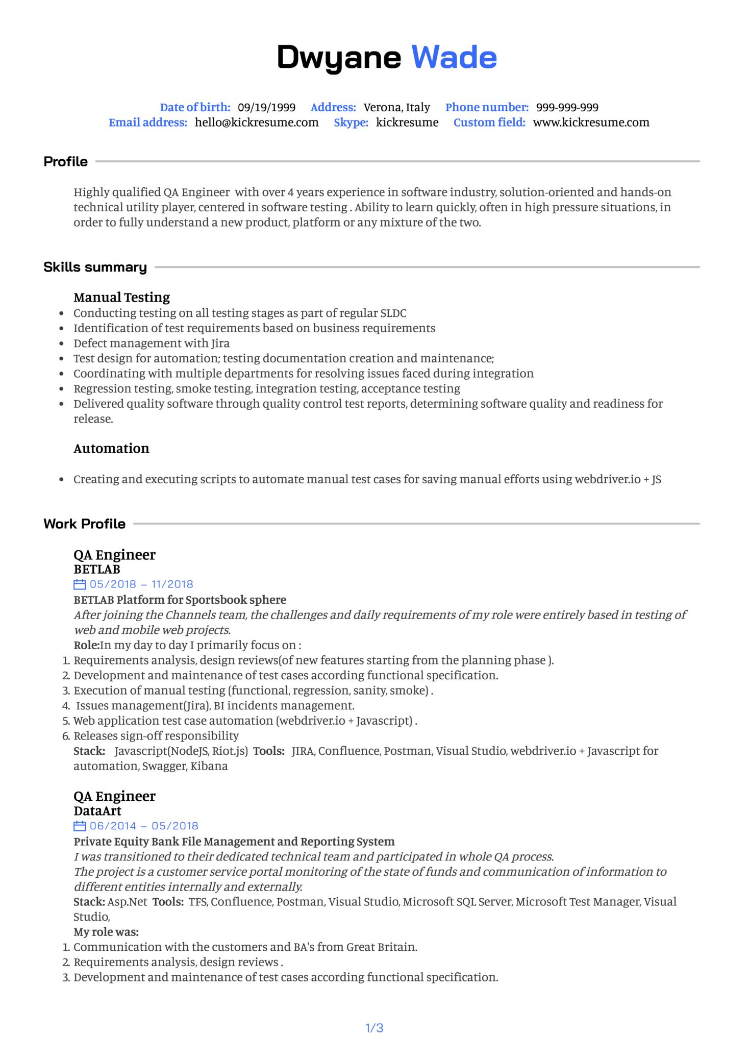 Quality Assurance Engineer Resume Example (Teil 1)