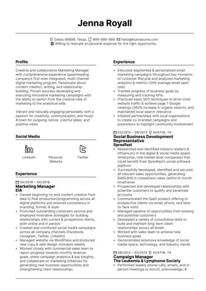 Content Marketing Associate CV Example