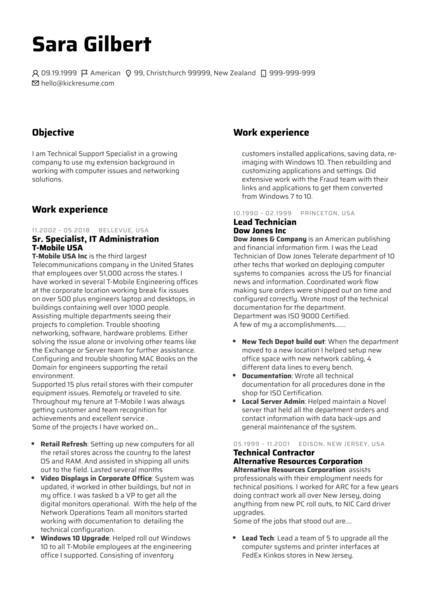 Technical Support Specialist Resume Sample (Hired)